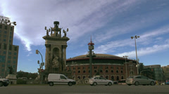 Arenas de Barcelona and Plaza de Espana in Barcelona, Spain. Stock Footage