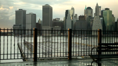 1041 Dolly NYC skyline with bench - stock footage