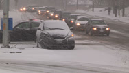 Car accident and crash scene in snowstorm and blizzard Stock Footage
