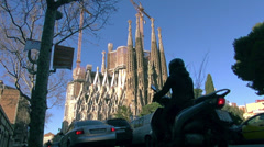 Cathedral Sagrada Familia famous church and landmark Stock Footage