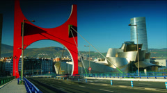 Stock Video Footage of Guggenheim Museum Bilbao from an high-angle
