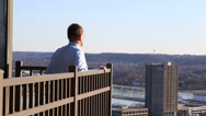 Stock Video Footage of Man looking at the Cincinnati skyline