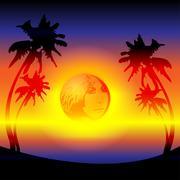 sunset evening - stock illustration