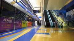 Dubai Metro Bur Dubai passengers commuters inside the train UAE Stock Footage
