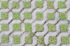 cobble road with grass - stock photo