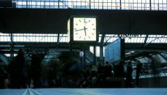 train station. public hallway. watch time lapse. time passing. people walking - stock footage