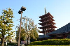 five-storey pagoda at sensoji temple in tokyo, japan - stock photo