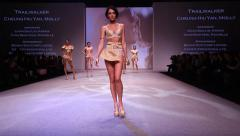 Intimate Fashion Catwalk Haute Couture top models at PolyU Show 2014 Hong Kong Stock Footage
