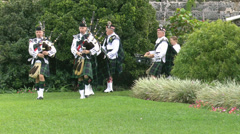 Bagpipers Slow Motion Stock Footage