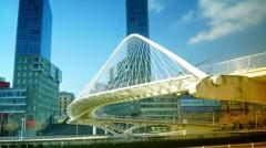 Bridge of Calatrava in Bilbao, Spain, time lapse, 4k Stock Footage