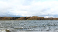 Storm on the reservoir, wind and weather. - stock footage