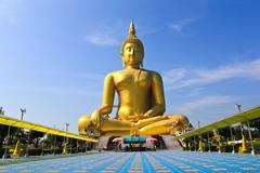 Big statue image of buddha at wat muang,angthong,thailand Stock Photos