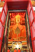 Big golden buddha statue at the temple in ayutthaya, thailand Stock Photos