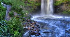 beautiful river waterfall in hdr high dynamic range - stock photo