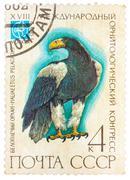 Stamp printed in ussr (russia) shows a bird haliaeetus pelagitus Stock Photos