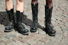 Punker  girls in high boots Stock Photos
