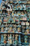 decoration of hindu  srirangam temple  in tiruchirapalli, southern inida - stock photo