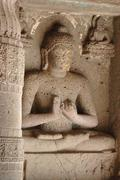 Buddha statue at ajanta, famous cave temple complex of southern india Stock Photos
