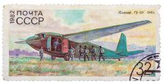 "Stamp printed in ussr (russia) shows the glider with the inscription ""gr-29,  Stock Photos"