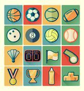 Flat icons sport set Stock Illustration