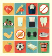 flat icons health set - stock illustration