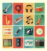 Flat icons music set Stock Illustration