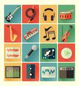 Stock Illustration of flat icons music set
