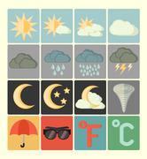 flat icons weather set - stock illustration