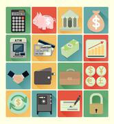 Flat icons finance set Stock Illustration