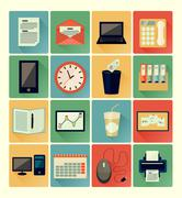 flat icons office set - stock illustration