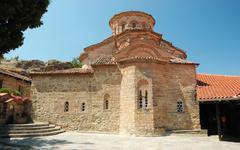 Church of roussanou monastery,meteora,greece,balkans, meteora complex Stock Photos