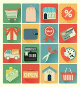 Flat icons shopping set Stock Illustration