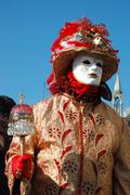 person in costume at st. mark's square during the carnival of venice 2011 - stock photo