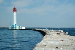 Vorontsov lighthouse in the gulf of odessa, ukraine Stock Photos