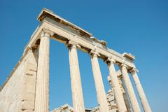 ruins of ancient temple acropolis,greece,athens,europe - stock photo