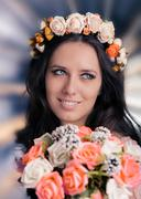 Woman with Floral Wreath and Bouquet Stock Photos