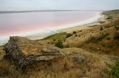 red water of salt kuyalnicky liman,analog of dead sea,odessa,ukraine - stock photo