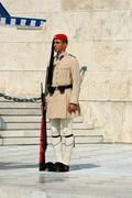 greek presidential guard change  in front of the  parliament,athens,greece - stock photo