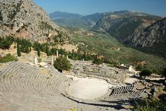 Ruins of ancient amphitheater in delphi,greece,europe,unesco heritage Stock Photos