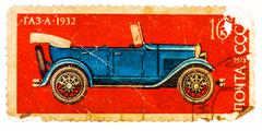 Stamp printed in ussr shows the gaz-a car (1932), series Stock Photos