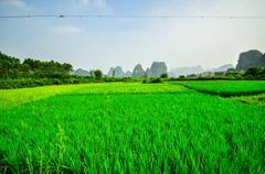 Li river mountain landscape in yangshuo guilin Stock Photos