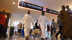 Time Lapse Dubai elevated walkway to Dubai Mall shopping center UAE Stock Footage