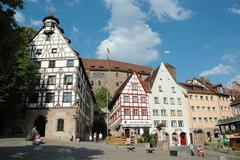 nuremberg,bavaria,germany - august 19: tourists visiting house of famous germ - stock photo