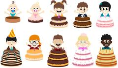 Birthday Party Kids - stock illustration