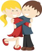 Hugging Kids Stock Illustration