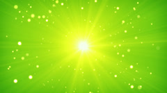 Green yellow light and particles loop background Stock Footage