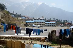 Linen rope with clothes at tenzing-hillary airport in lukla,nepal Stock Photos