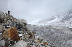 Khumbu icefall - hiking to south everest base camp in himalayas,nepal Stock Photos