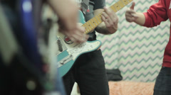 Musc band play guitars. Guitar Rock Band Music.Electric Guitar Playing. Drums Stock Footage
