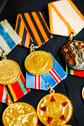 Stock Photo of anniversary medals of a victory in the great patriotic war on a coat